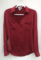 Express Portofino Slim Women's Small Red Button Front Roll Tab Sleeve Top Blouse