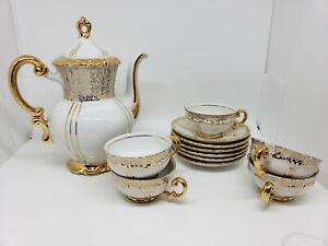 Mitterteich Bavaria Demitasse Coffee Pot 5 Cup 6 Saucer Heavy Gold Trim Germany