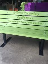 Buddy Bench ( Vibrant Lime Green) Plastic Lumber-Solid steel Frames