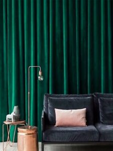 Premium Soft 90% Blockout Fine Velvet Eyelet Curtain Ermerald Peacock Green