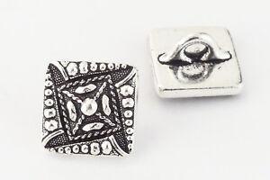 11mm Antique Silver TierraCast Czech Square Button (20 Pcs) #CK626