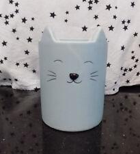 Cat Makeup Brush Holder Blue Ceramic Organizer Pen Holder Office New