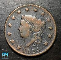 1824 Coronet Head Large Cent   --  MAKE US AN OFFER!  #B2766