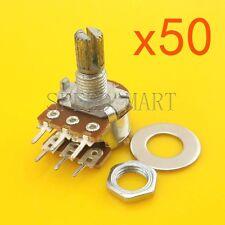 50pcs B50K Ohm Dual Linear Potentiometer Pot 15mm Shaft 6 Pins Wholesale