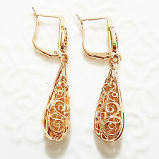 Vintage Carved Drop Dangle Earrings Yellow Gold Plated Women Jewelry E42