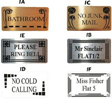 DOOR NAME PLATES 2 SIZES, 5 DESIGNS, 3 COLOURS TO CHOOSE NUMBER PLAQUE / SIGN