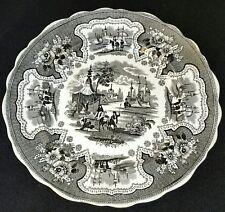 "19th Century English Black Transferware Plate Palestine pattern by Adams 10-3/4"""