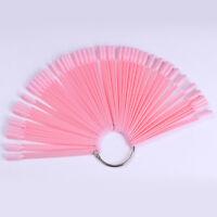 50Pcs Pink Acrylic False Nail Tips UV Gel Color Card Nail Art Practice Display