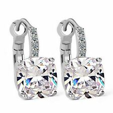 Silver Clear Made with Swarovski Crystals Leverback Square Bridal Earring XE37