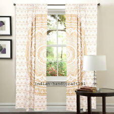 Indian Golden Mandala Window Curtains Drapes Wall Decor Valances Cotton Tapestry