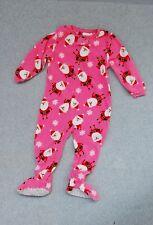 Carters Fleece Sleeper Footed Onesy Santa Claus Christmas Size 2T Pajamas Girl