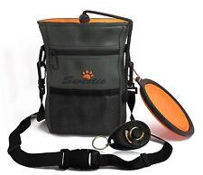 More details for dog treat bag w/ poop bag holder adjustable belt pet walking pouch bowl clicker