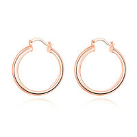 18K Rose Gold Plated Classic 34mm Hoop Earrings Rose Hoops ITALY MADE