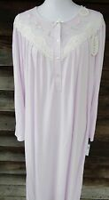 Miss Elaine Womens Size XL Lavender With Embroidery CUDDLEKNIT Nightgown NWT
