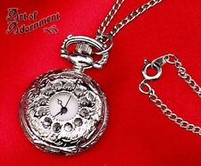 Victorian Style POCKET WATCH NECKLACE Pendant Chain Filigree Antiqued Silver