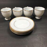 Noritake Ireland Tea Cup Dessert Plates White With Gold Rim Fine Bone China
