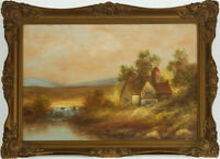 Mid 20th Century Oil - Cottage in a Landscape