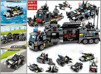 Kids City Police Truck Building Blocks Sets Ship Vehicle Bricks Play Mobile Toys
