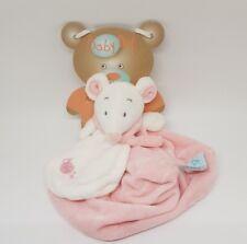 DOUDOU SOURIS ROSE BEIGE BLANC CREME PLAT BABY NAT BABYNAT NEUF