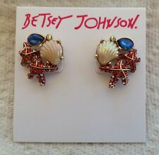 NEW Betsey Johnson Seashell Mermaid Starfish Pink Blue Stud ClamScallop Earrings