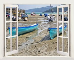 3D Window Effect on Canvas St.Ives Cornwall Uk Boats Picture Wall Art Print
