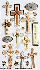 EK SUCCESS JOLEE'S BOUTIQUE 3-D STICKERS - RELIGION CROSSES FAITH HOPE & REJOICE