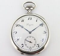 .Vintage 1922 Longines Silver Mens 50.5mm Manual Wind Pocket Watch