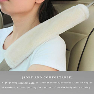 2 PCs Car Auto Sheepskin Seat Belt Covers Shoulder Strap Pads Cushion Headrest