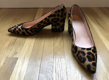 New J 00006000 .Crew Laney pumps leopard calf hair mid block heel leather shoes 7 Ab080