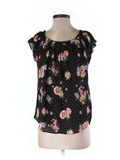 LC Lauren Conrad Pleated Neck Blouse Top S Black Dot Pink Floral Roses Keyhole