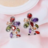 Natural Multi-Color Amethyst Peridot Morganite Garnet Silver Stud Hook Earrings