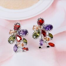 Rainbow Color Natural Amethyst Peridot Morganite Gems Silver Stud Hook Earrings