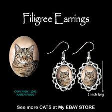 TABBY SHORTHAIR Pretty Face Cat - SILVER FILIGREE EARRINGS Jewelry