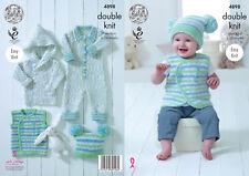 King Cole Bebé Doble Tejer patrón fácil Chaqueta Mameluco Chaleco y Sombrero 4898