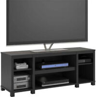 Entertainment Cubby TV Stand, up to 50 inch TV, Black Oak Wood Finish Furniture