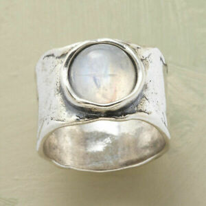 Vintage Handmade 925 Silver Moonstone Gemstone Width Ring Women Men Jewelry Gift