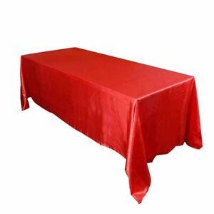 "126"" Satin Tablecloth Rectangle Wedding Table Cover Cloth Banquet Party Decor"