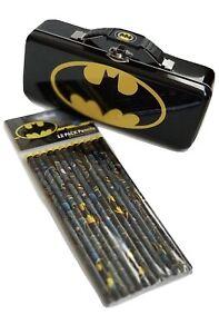 Batman - Storage Metal Tin with 12 Batman Design Pencils Set