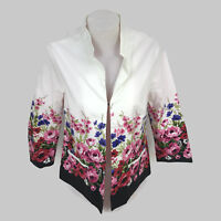 Drapers & Damons Women's Black White Multi Floral Open Rose Jacket Blazer Size S