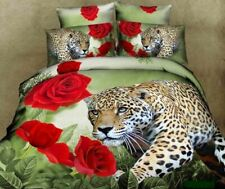 Queen Size Duvet Cover Bedding Set In Exotic 3d Leopard And Red Rose Print