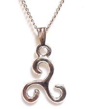 "TRISKELION_Small Pendant on 18"" Chain Necklace_Irish Celtic Knot Pagan_127N"