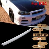 For Nissan Skyline R34 GTR Typ-R URAS OE Style FRP Fiber Type-2 Bonnet Lip kit