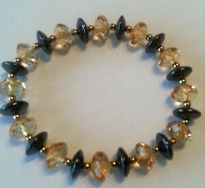 Fashion Magnet Bracelet Hematite Diamond Colour Golden Brown Chip 8mm #129