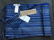Paul Smith bufanda azul muchas franjas 100 seda longitud 192cm X 55.5cm