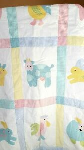 """Farm Animals Baby Quilt 30""""x 39"""" Crib Blue Cow Rooster Sheep Rabbit Gingham"""