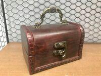 Rustic Dark Wooden Box Colonial Style Trunk Treasure Chest Vintage Storage