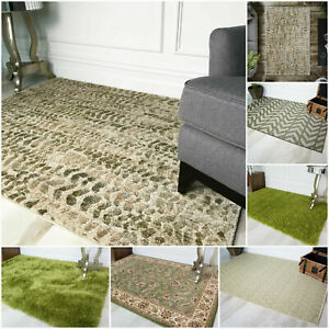 Modern Calming Green Area Mats Budget Cheap Traditional Shaggy Rugs For Home NEW