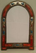 Large Ornate Arch Moroccan Mirror diamonds insert - orange Henna 46 cm