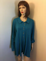 SOFT SURROUNDINGS Sz 2X Teal Knit Half Button BLOUSE TOP Convertible Long Sleeve