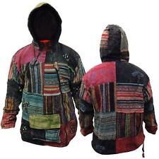 Men's Patchwork Fleece Lined Winter Jacket Boho Hippy Cross Zipped Tops Hoodie